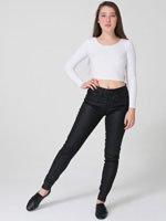 Faux Cuir Zipper Jean