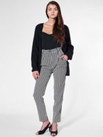 Striped High-Waist Pleated Pant