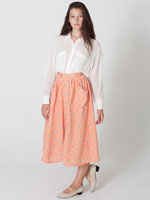 Polyester Button-Up Long Skirt