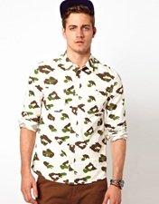 ASOS Shirt With Leopard Camo Print