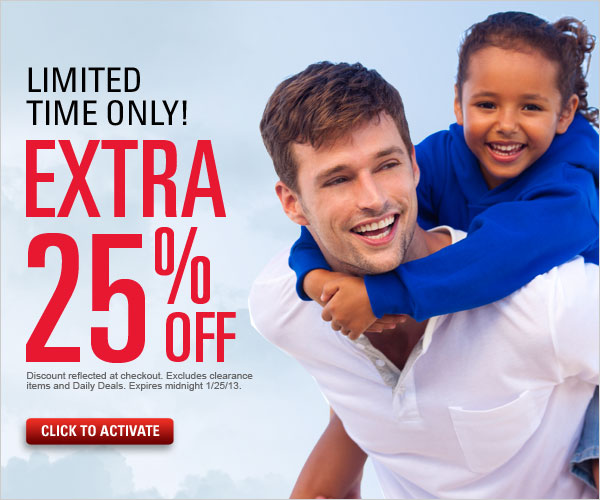 Limited time only save an extra 25% off