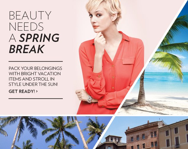 Beauty needs a spring break! Pack your belongings with bright vacation items and stroll in style under the sun!