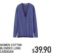 WOMEN COTTON BLENDED LONG CARDIGAN