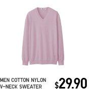 MEN COTTON NYLON V-NECK SWEATER