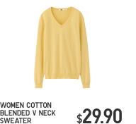 WOMEN COTTON BLENDED V NECK SWEATER
