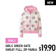 GIRLS GREEN GATE SWEAT FULL ZIP PARKA