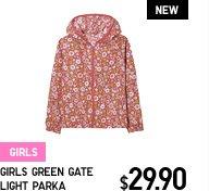 GIRLS GREEN GATE LIGHT PARKA