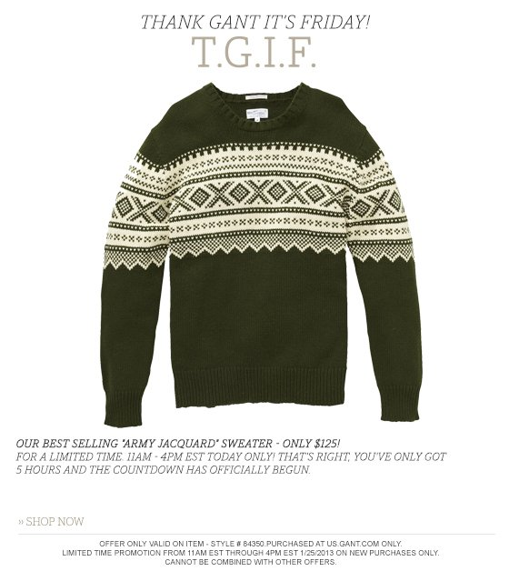 Our best selling Army Jacquard sweater - only $125!