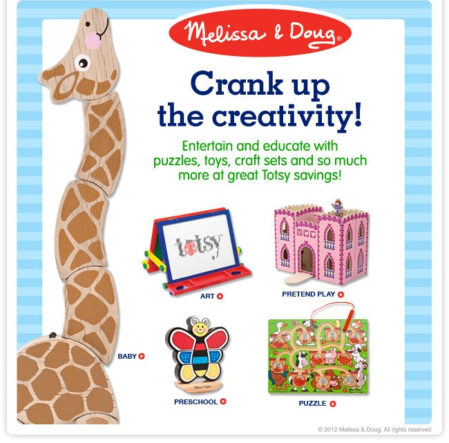 Melissa & Doug - Crank up the creativity! Entertain and educate with puzzles, toys, craft sets and so much more at great Totsy savings!