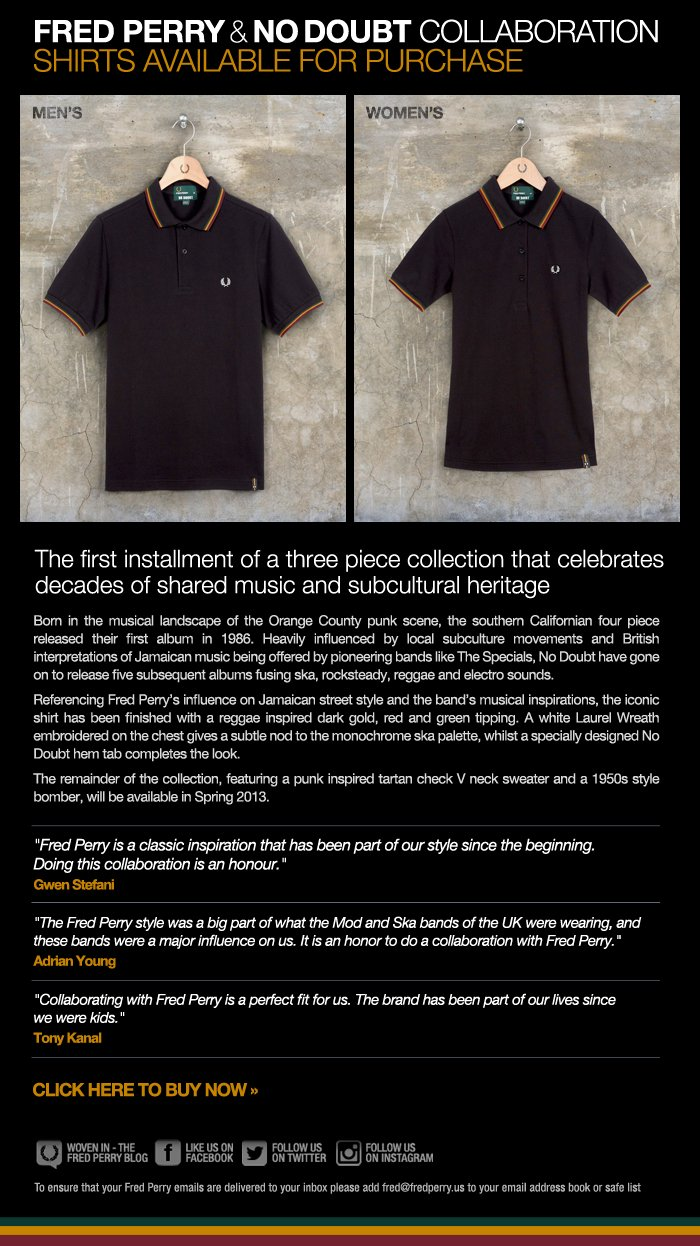 Fred Perry & No Doubt Collaboration - shirts available to buy now