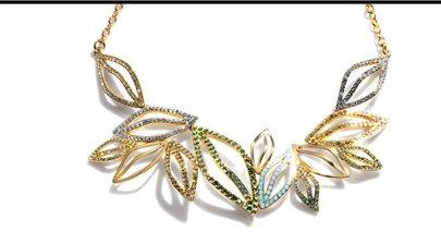 pave leaf short necklace