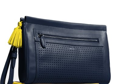 legacy perforated leather large clutch