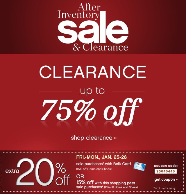 After inventory sale & Clearance. Clearance up to 75% off. Shop clearance.