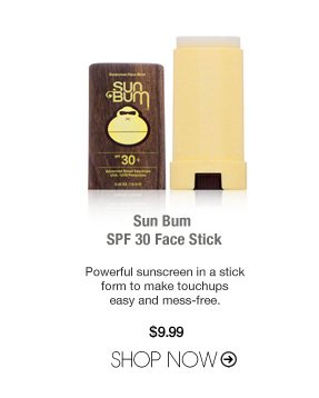 Paraben-free Sun Bum SPF 30 Face Stick Powerful sunscreen in a stick form to make touchups easy and mess-free. $9.99 Shop Now>>