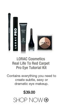 LORAC Cosmetics Real Life To Red Carpet Pro Eye Tutorial Kit Contains everything you need to create subtle, sexy or dramatic eye makeup. $39 Shop Now>>