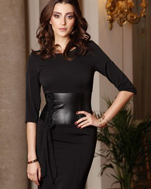 Explosion Faux Leather & Lace-Up Ties Two-Tone Dress