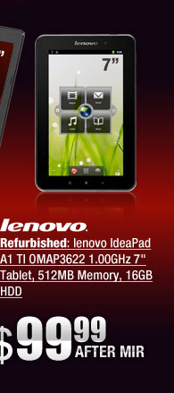 Refurbished: lenovo IdeaPad A1 TI OMAP3622 1.00GHz 7 inch Tablet, 512MB Memory, 16GB HDD