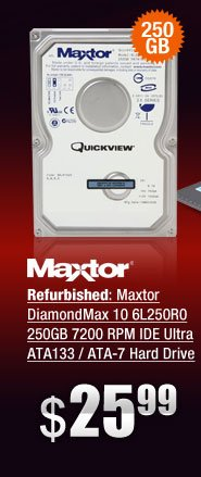 Refurbished: Maxtor DiamondMax 10 6L250R0 250GB 7200 RPM IDE Ultra ATA133 / ATA-7 Hard Drive -Bare Drive