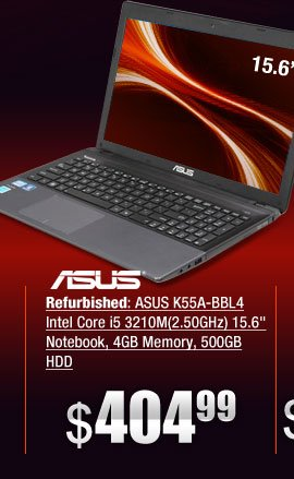 Refurbished: ASUS K55A-BBL4 Intel Core i5 3210M(2.50GHz) 15.6 inch Notebook, 4GB Memory, 500GB HDD