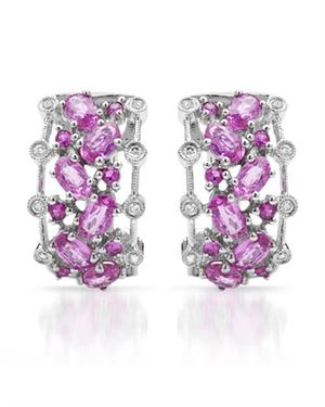 Ladies Sapphire Earrings Designed In 14K White Gold $689
