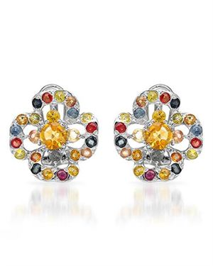 Ladies Sapphire Earrings Designed In 925 Sterling Silver $65