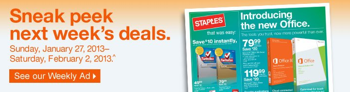 Sneak  peek next week's deals. Sunday, January 27, 2013–Saturday,  February 2, 2013 (^). See our Weekly Ad.
