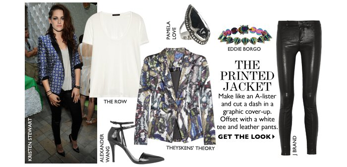 THE PRINTED JACKET Make like an A-lister and cut a dash in a graphic cover-up. Offset with a white  tee and leather pants.  GET THE LOOK