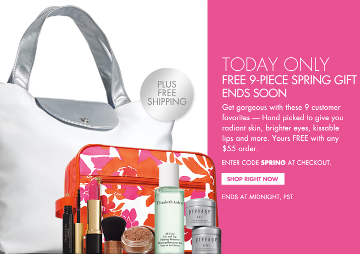 TODAY ONLY. FREE 9-PIECE SPRING GIFT ENDS SOON. Get gorgeous with these 9 customer  favorites - Hand picked to give you radiant skin, brighter eyes, kissable lips and more. Yours FREE with any $55 order. ENTER CODE SPRING AT CHECKOUT. PLUS FREE SHIPPING. SHOP RIGHT NOW. ENDS AT MIDNIGHT, PST.