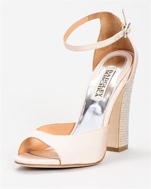Badgley Mischka Buckled Strap & Glitter Heel Solid Color Sandals $75