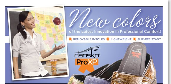 Shop the NEW Dansko ProXP arrivals, including exclusive colors and the best new styles. The latest professional comfort innovation, the ProXP features a lighter weight, slip-resistant soles and removable insoles. Shop all 18 ProXP colors now at The Walking Company.