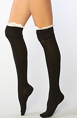 The Enchanted Lace Over the Knee Socks in Black