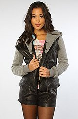 The Rider Vegan Leather and Fleece Jacket in Black Grey