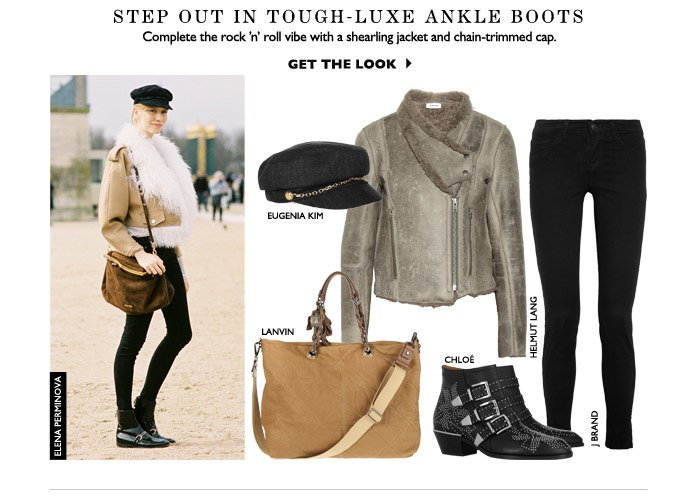 STEP OUT IN TOUGH-luxe ankle boots Complete the rock 'n' roll vibe with a shearling jacket and chain-trimmed cap. Get the Look