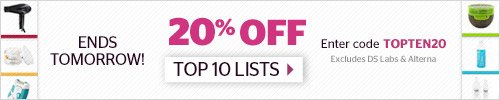 20% off Top Ten Lists