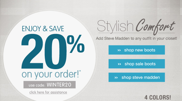 20% off boots from Steve Madden!