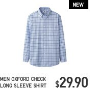 MEN OXFORD CHECK LONG SLEEVE SHIRT