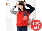 Pocket-Front Color-Block Pullover