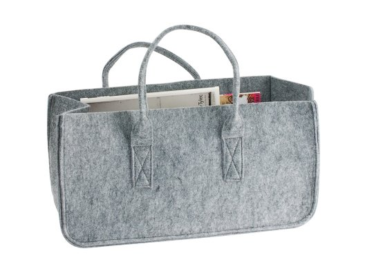 This chic felt tote makes my mess of magazines look neat and organized. Lifesaver!