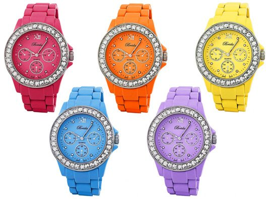These are the perfect vacation watches. They can be dressed up or down (we love all the