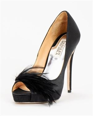 Badgley Mischka Feather Detail Solid Color Peep-Toe Pumps