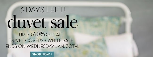 3 DAYS LEFT! duvet sale - UP TO 60% OFF ALL DUVET COVERS + WHITE SALE ENDS ON WEDNESDAY, JAN. 30TH. SHOP NOW