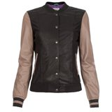 Paul Smith Jackets - Black And Taupe Leather Varsity Jacket