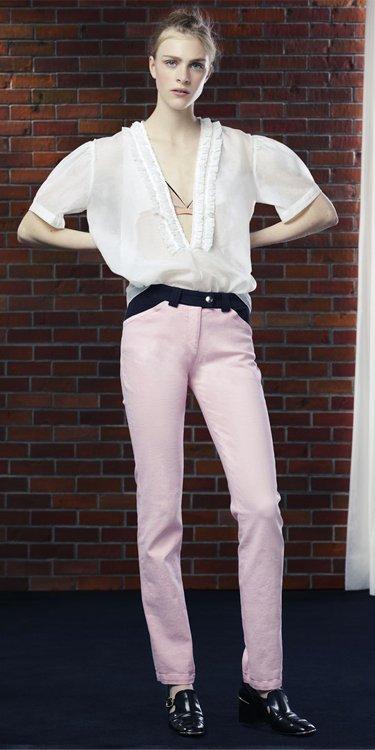 Balenciaga Gant Contrasted Stretch Denim Pants Dragee