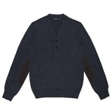 Paul Smith Knitwear - Navy Henley Jumper