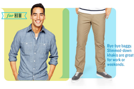 for HIM | Bye-bye baggy. Slimmed-down khakis are great for work or weekends.