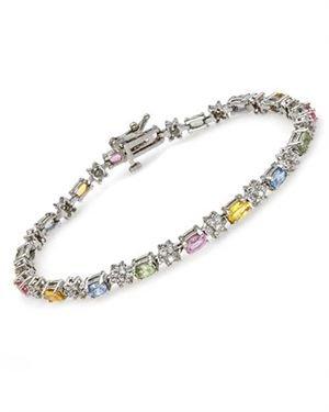 Ladies Sapphire Bracelet Designed In 14K White Gold $829