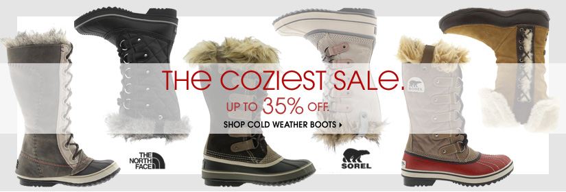 THE COZIEST SALE. UP TO 35% OFF. SHOP COLD WEATHER BOOTS