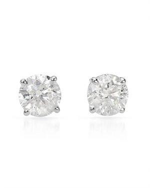 0.7 CTW Diamonds Ladies Earrings Designed In 14K White Gold