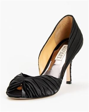 Badgley Mischka Ruched Front Striped Peep-Toe Pumps