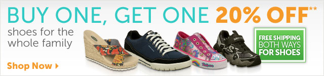 Buy One, Get One 20% OFF** shoes for the whole family - Free Shipping Both Ways for Shoes - Shop Now